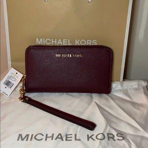 NWT Michael Kors Merlot Leather Large Wristlet